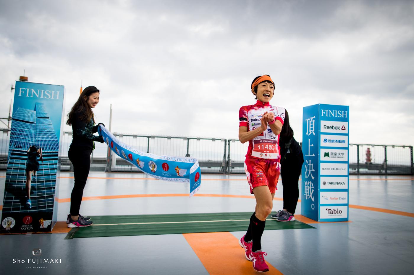 2016ハルカススカイランのゴールでも吉住はいつも通りの笑顔 🄫Sho Fujimaki