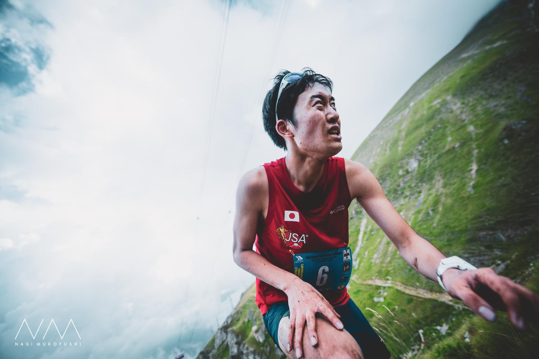 これまた初の海外戦で好タイムでゴールした宮崎。我慢の登り。ゴール直後は足が攣ってしばらく動けなかった ©Nagi Murofushi