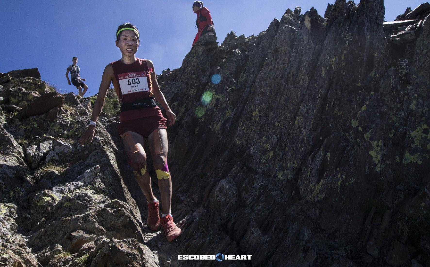 コマペドローサ山頂直下のテクニカルなダウンヒル。最後まで攻め続ける ©Skyrace Comapedrosa