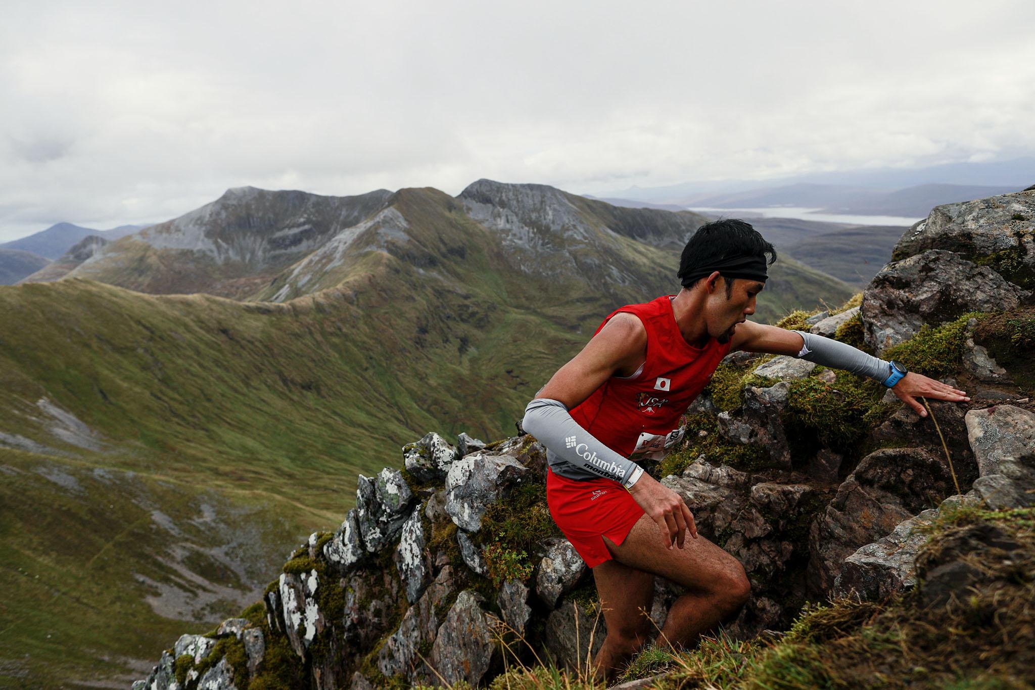 このレースで世界の第1線からの引退を決めていた松本の最後の登り。今後は世界に挑むアスリートへの支援体制を整える活動に集中する ©Sho Fujimaki