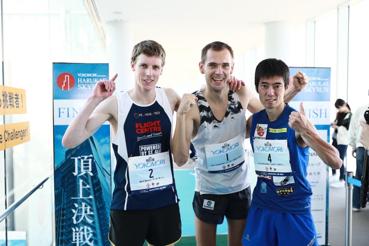 男子トップ3。左からボーン、ロボジンスキー、渡辺 ©Sporting Republic