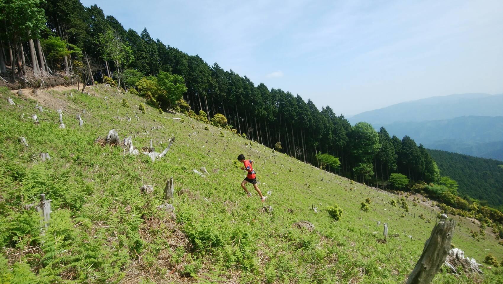 愛宕山を駆け登る近江選手