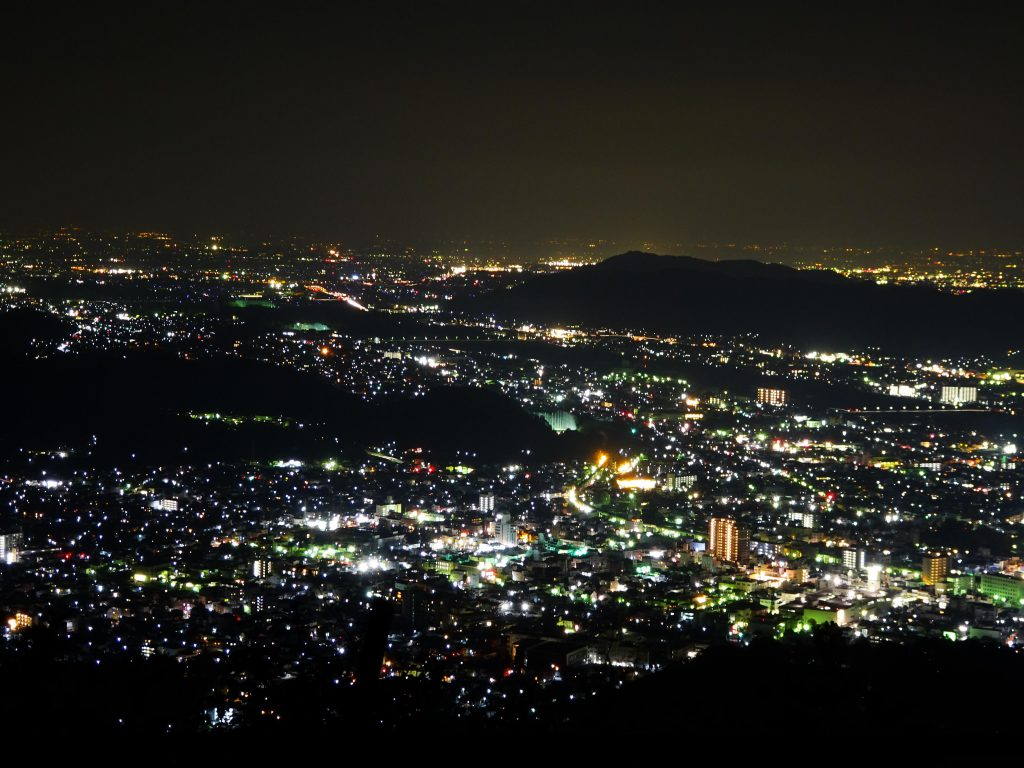山頂からの桐生市内夜景