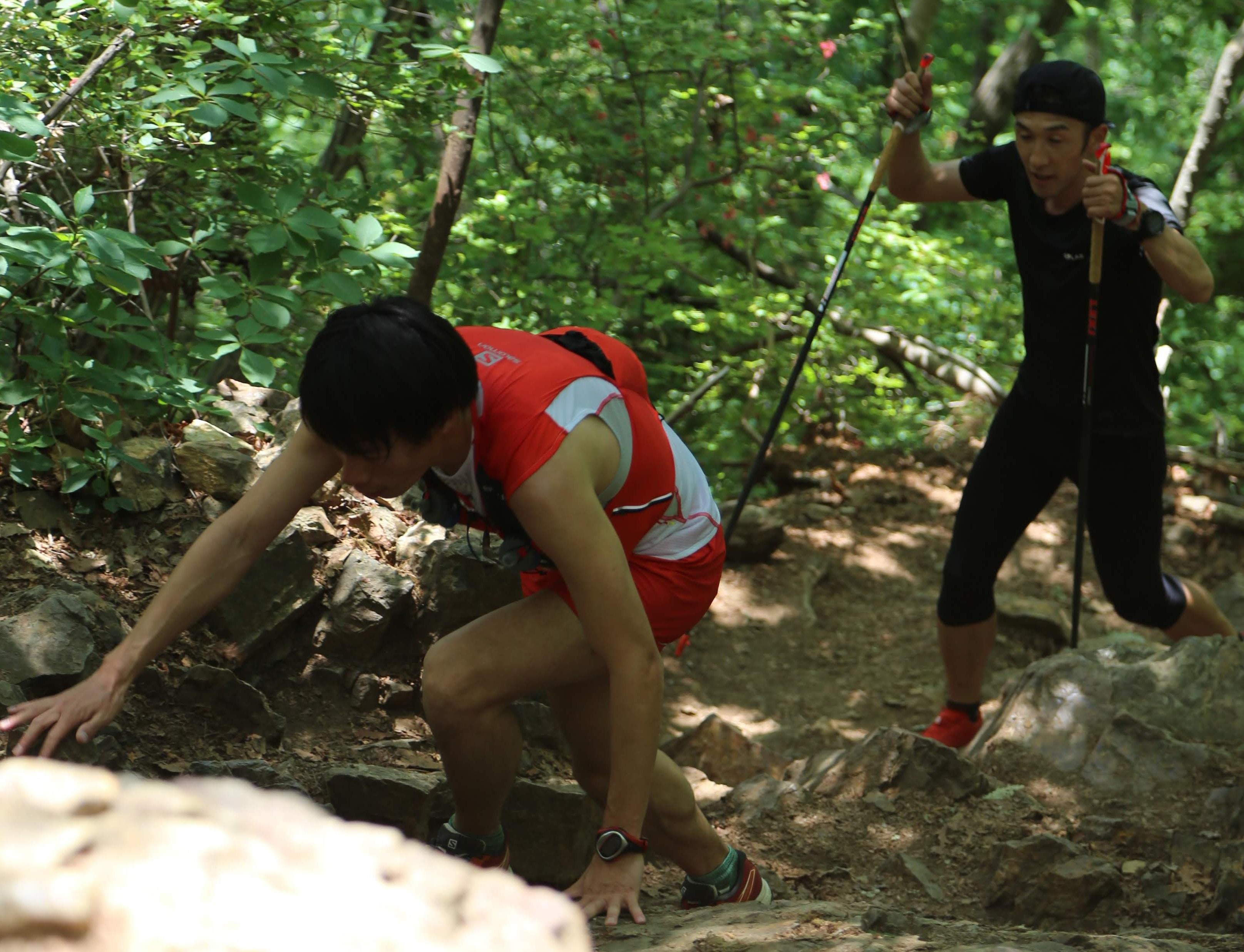 最後の急登は手を使ってよじ登る