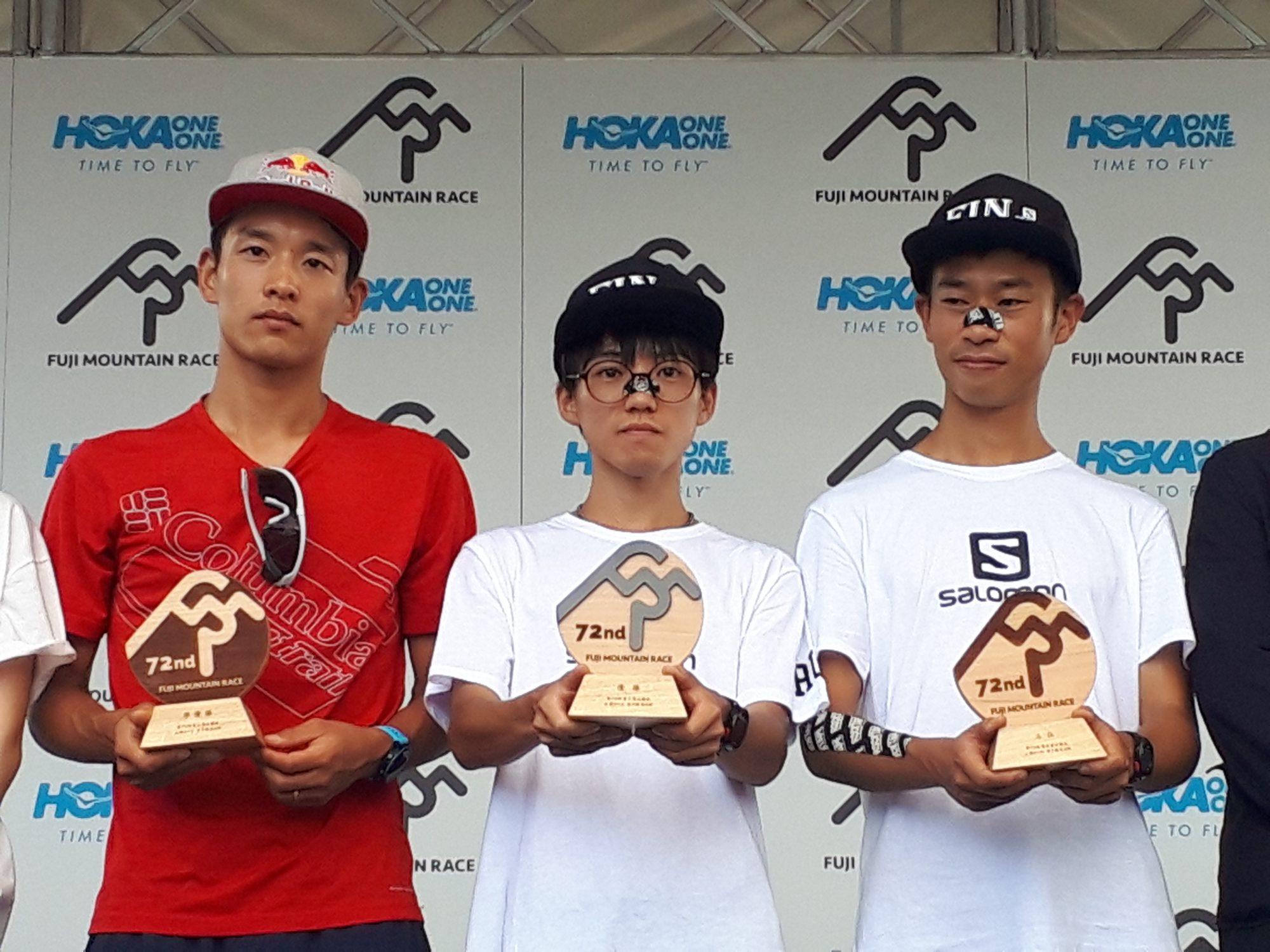 男子トップ3。左から2位の上田、山田、3位の五郎谷 ©JSA