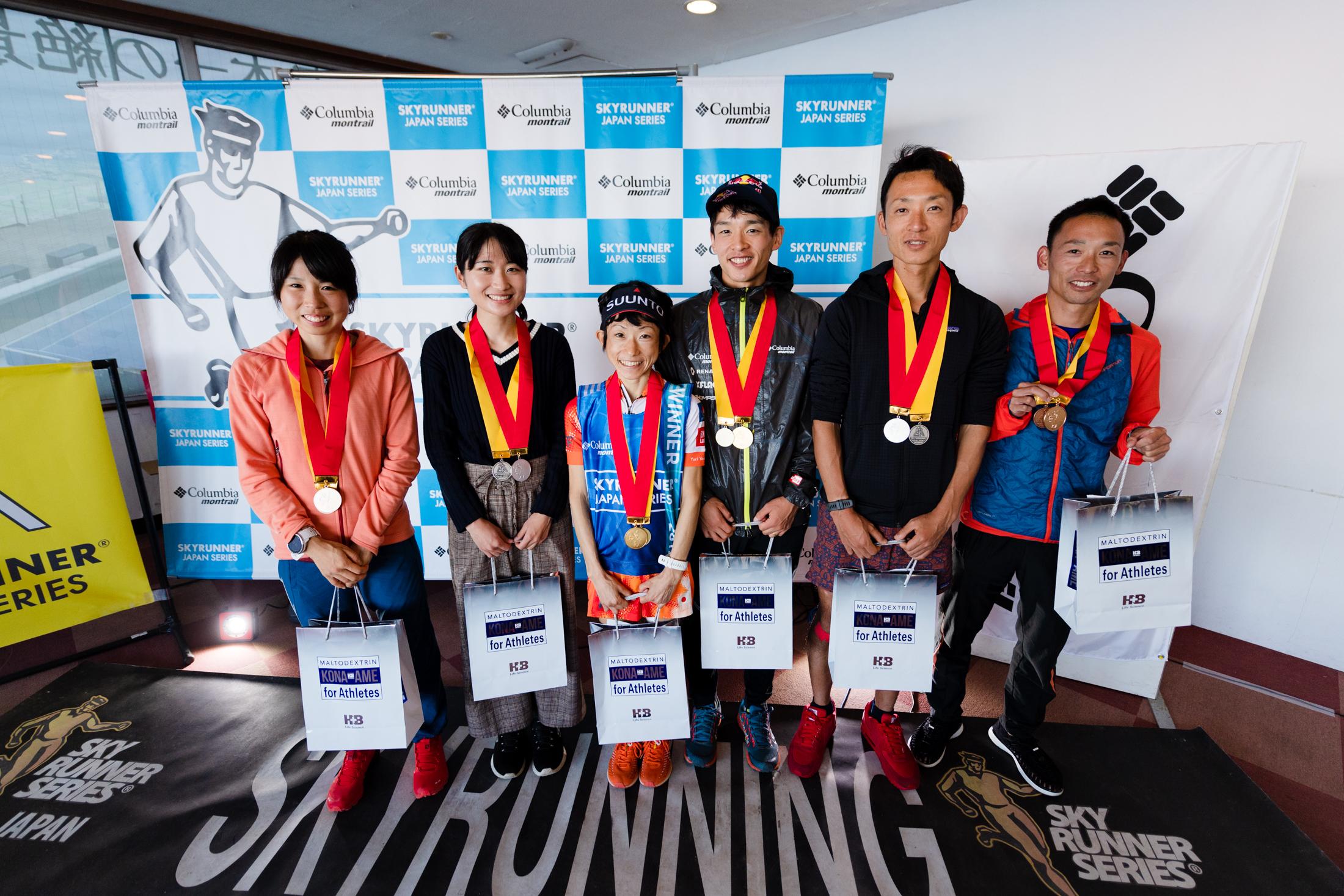 男女トップ3 ©びわ湖バレイスカイラン